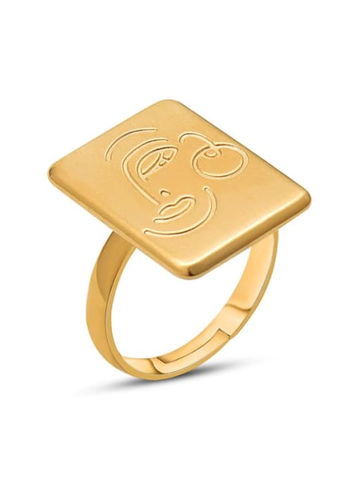 MAKA Titanium Steel Vintage Face geometric square Band Ring 0