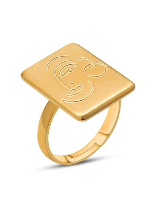 MAKA Titanium Steel Vintage Face geometric square Band Ring