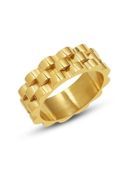 MAKA Titanium Steel Geometric Hip Hop Band Ring 0