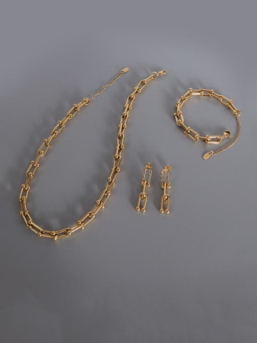 MAKA Titanium Steel Vintage Geometric  Bangle Earring and Necklace Set