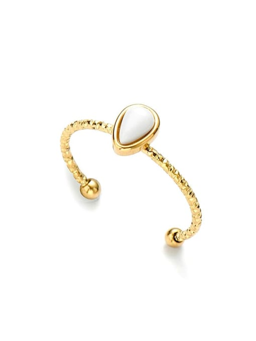 YAYACH Water drop natural stone simple open titanium steel ring