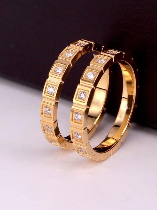 K.Love Stainless steel Rhinestone Geometric Minimalist Band Ring 2