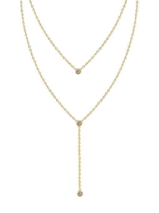 MAKA Titanium Steel Tassel Minimalist Multi Strand Necklace 0