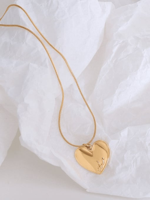 MAKA Titanium 316L Stainless Steel Heart Letter Minimalist Necklace with e-coated waterproof 2