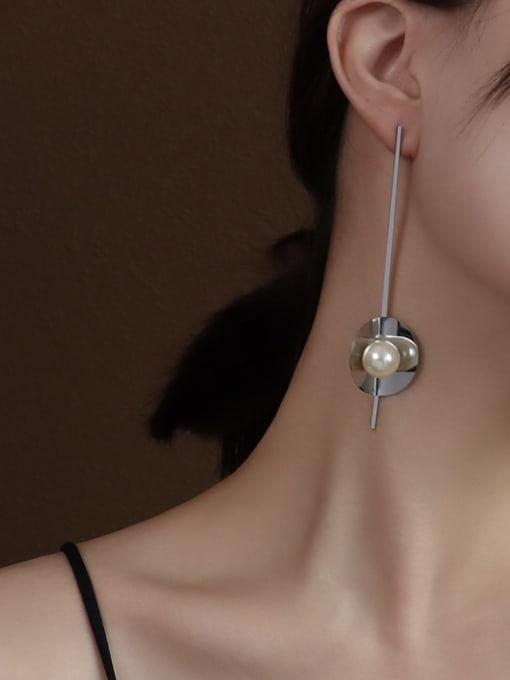 F220 steel metallic Pearl Earrings Titanium 316L Stainless Steel Imitation Pearl Geometric Vintage Drop Earring with e-coated waterproof