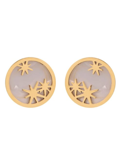 Gold Personalized exquisite awn star simple geometric stainless steel earrings