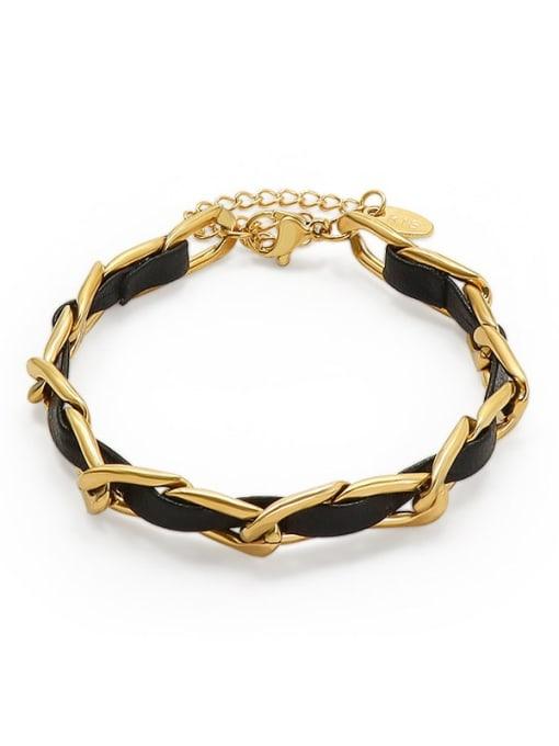 MAKA Titanium Steel Leather Geometric Vintage Link Bracelet 0