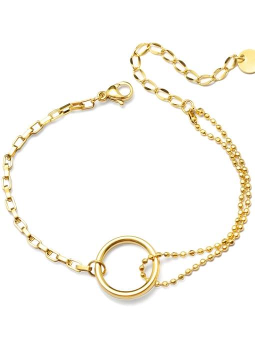 MAKA Titanium 316L Stainless Steel Geometric Minimalist Strand Bracelet with e-coated waterproof 0