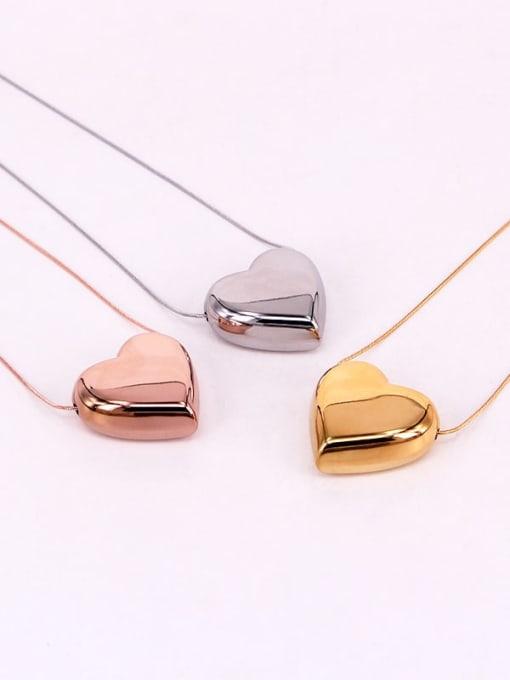 K.Love Titanium Steel Smooth Heart Minimalist Necklace 0