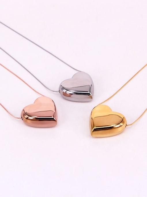 K.Love Titanium Steel Smooth Heart Minimalist Necklace