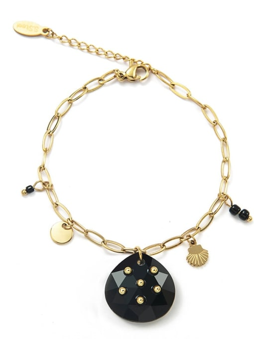 Black Stainless steel Heart Trend Link Bracelet