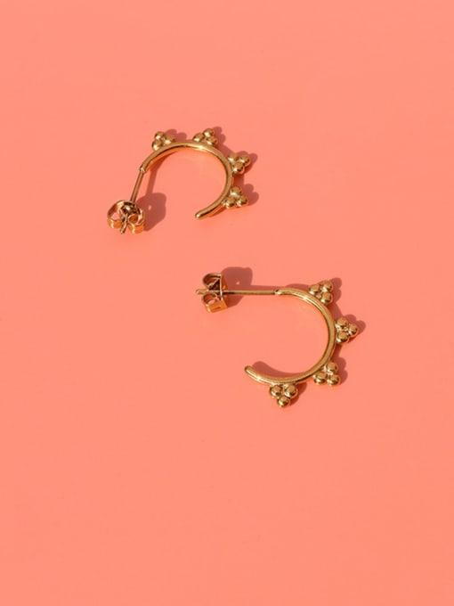 MAKA Titanium Steel Bead Triangle Minimalist Stud Earring 3
