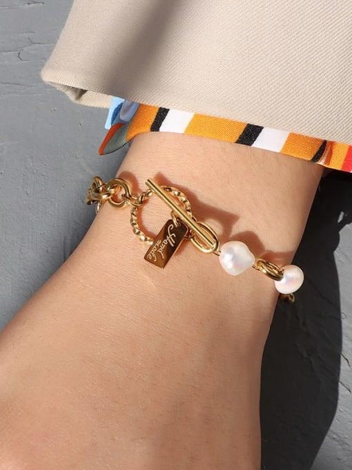 Gold bracelet 18cm Titanium Steel Freshwater Pearl Geometric Vintage Link Bracelet