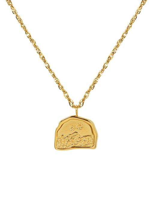 Golden Titanium Steel Geometric Minimalist Necklace