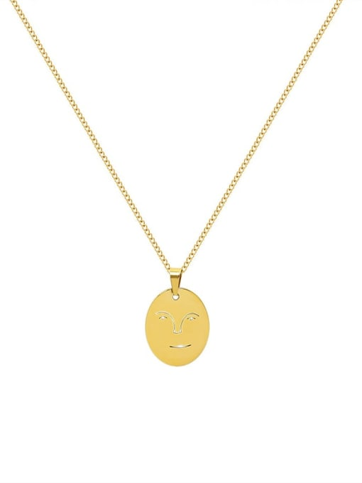 Gold necklace 40+5cm Titanium Steel Geometric Minimalist Human Face Pendant Necklace