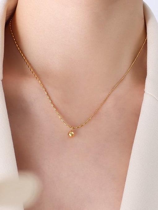 P043 Gold Bead Necklace 42+ 5cm Titanium Steel Cubic Zirconia Geometric Minimalist Necklace