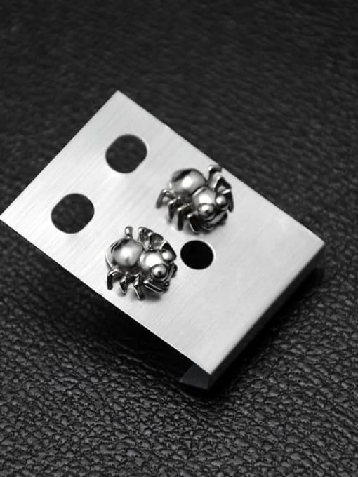 MAKA Titanium Steel Bug Hip Hop spider Stud Earring 1