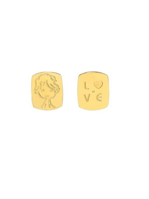 gold earrings Titanium Steel Asymmetry Geometric Portrait Letters Cute Stud Earring