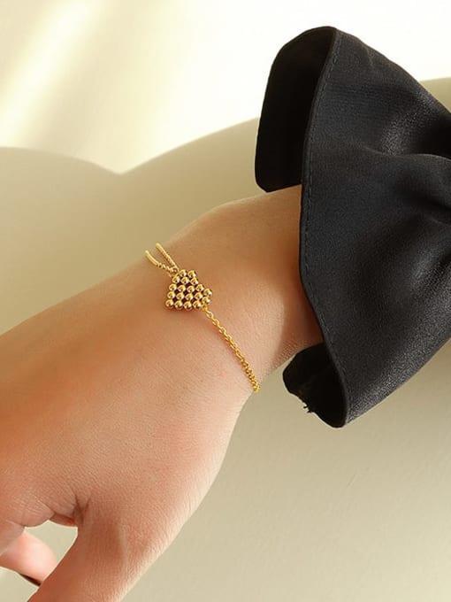 MAKA Titanium Steel Bead Heart Vintage Link Bracelet 1