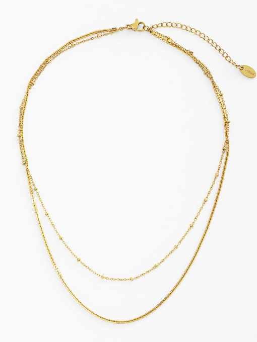 gold Empty round pendant multi-layer wearing stainless steel necklace