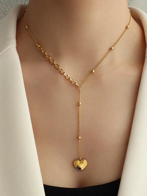 MAKA Titanium Steel Tassel Minimalist Heart Lariat Necklace 0