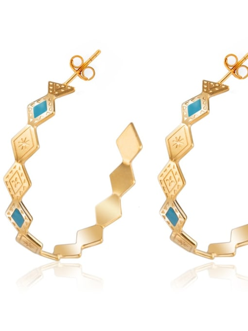 Gold Personalized Diamond Fashion geometric ear ring