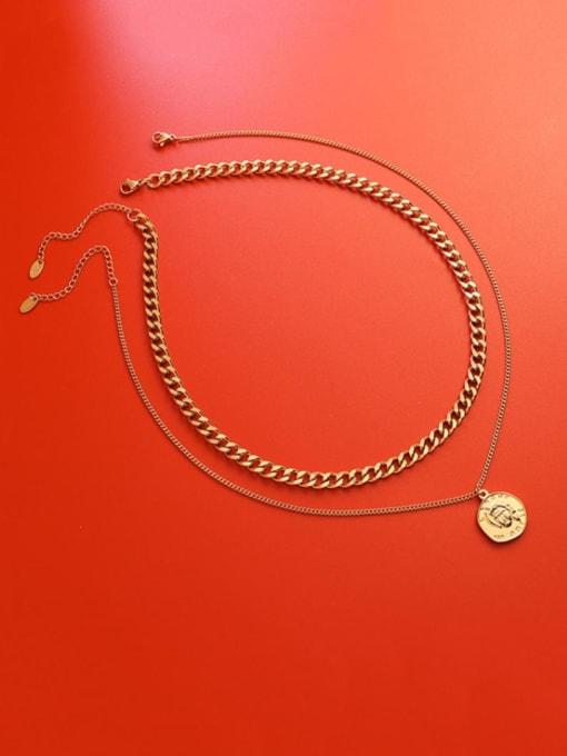MAKA Titanium Steel Geometric Vintage Multi Strand Necklace 1