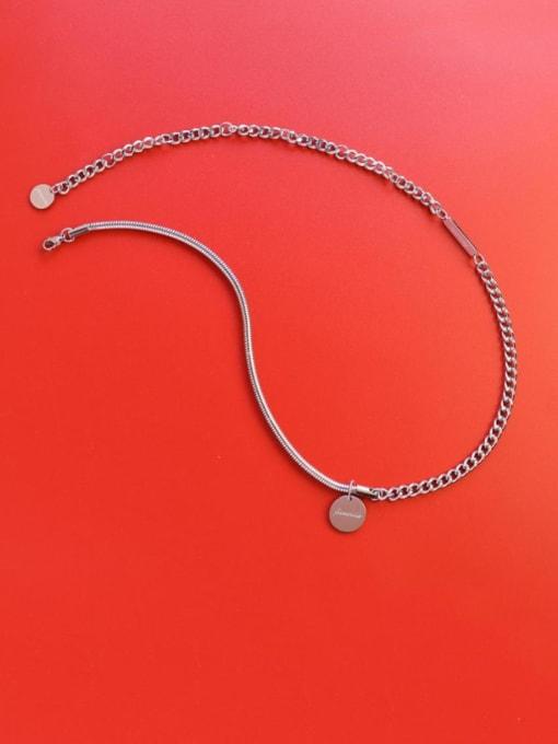 Steel necklace 35 +17cm Titanium Steel Geometric Vintage Necklace