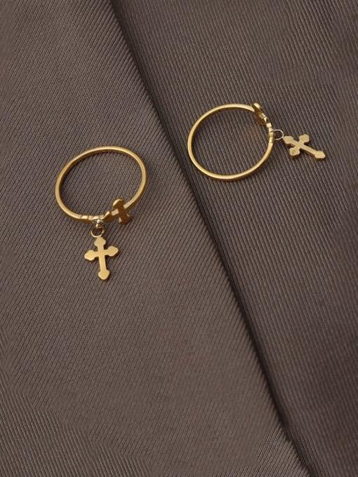 MAKA Titanium Steel Cross Minimalist Band Ring 2