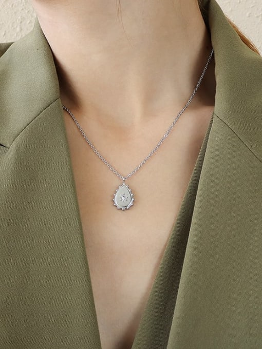 Steel necklace 40+5cm Titanium 316L Stainless Steel Rhinestone Water Drop Vintage Necklace with e-coated waterproof