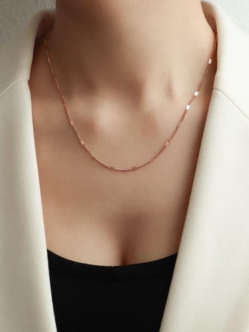 Short rose gold Titanium Steel Tassel Minimalist Lariat Necklace