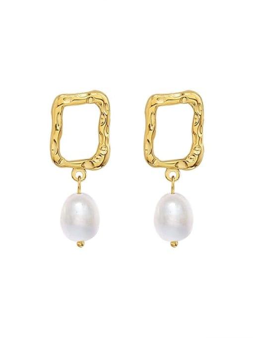 gold Titanium Steel Imitation Pearl Geometric Minimalist Drop Earring