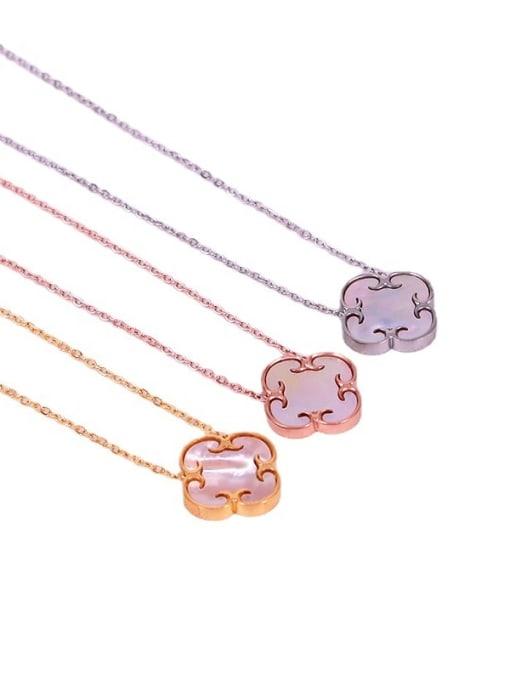 K.Love Titanium Steel Shell Clover Minimalist Necklace