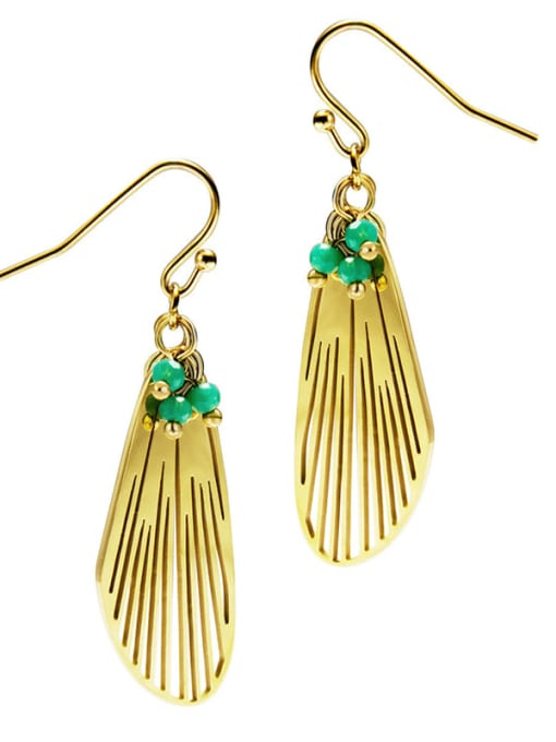 Green Feather cool wind personalized titanium steel earrings