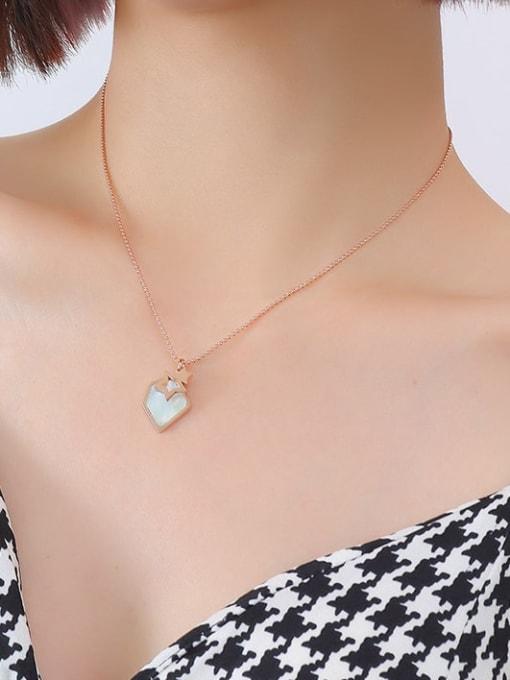 P557 rose necklace 40+ 5cm Titanium Steel Shell Geometric Minimalist Necklace