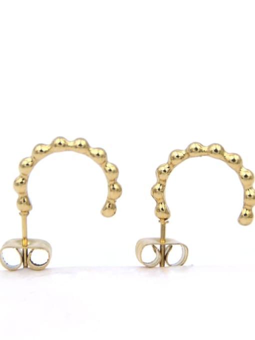YAYACH Geometric metal Korean versatile Round Bead Earrings 1