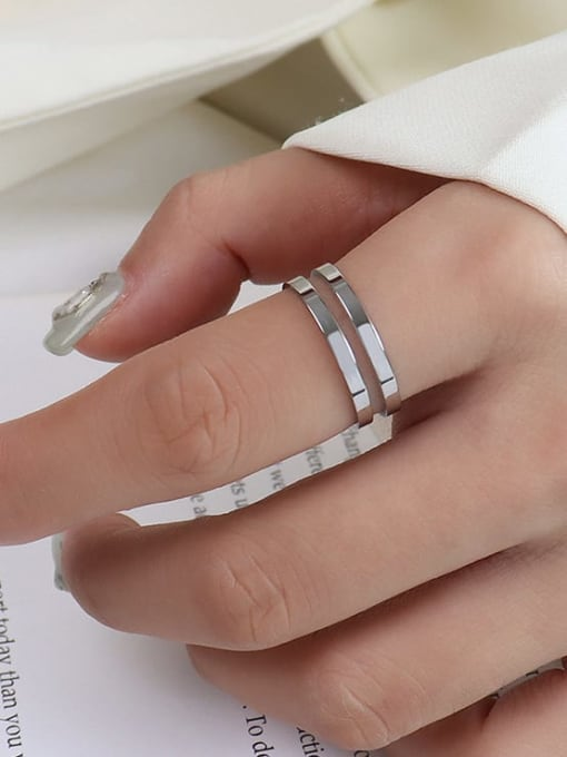 A005 two layer steel color Titanium 316L Stainless Steel Geometric Vintage Band Ring with e-coated waterproof