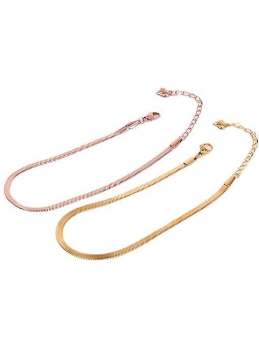 K.Love Titanium Steel Simple flat Snake bone chain Anklet