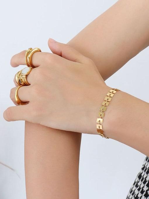 MAKA Titanium Steel Geometric Minimalist Link Bracelet 2