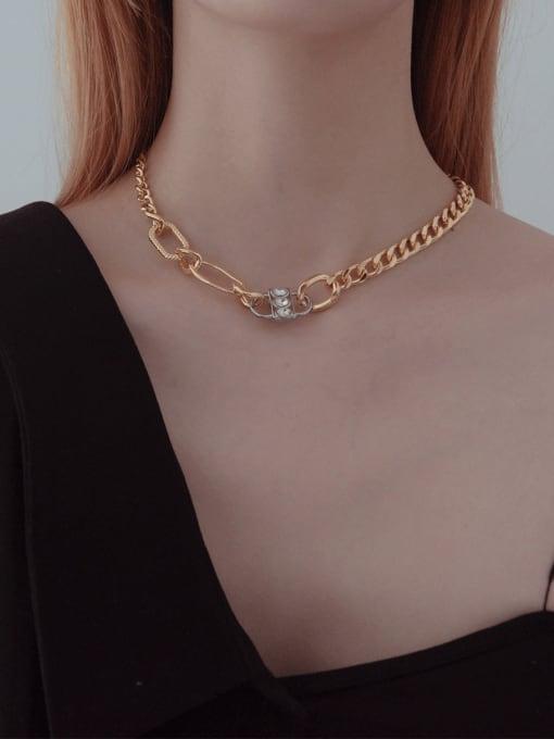YAYACH Gold and Diamond Lock Hip Hop Cuban Necklace 1