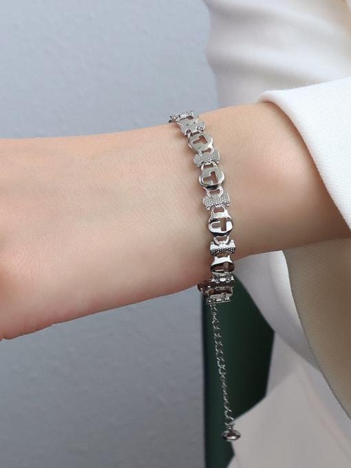E090 steel T-shaped  16 +5cm Titanium Steel Geometric Minimalist Link Bracelet