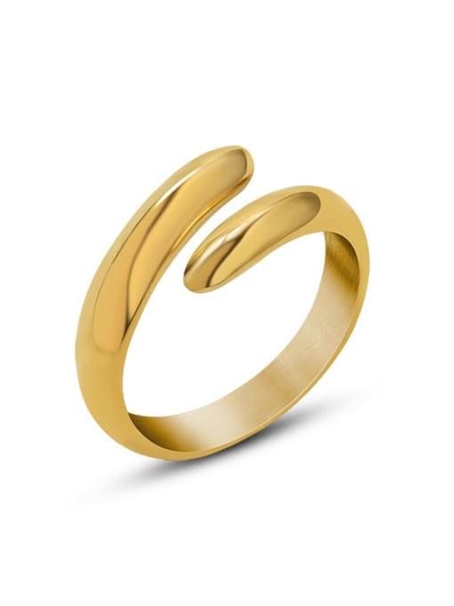 MAKA Titanium Steel Smooth Geometric Minimalist Stackable Ring 2