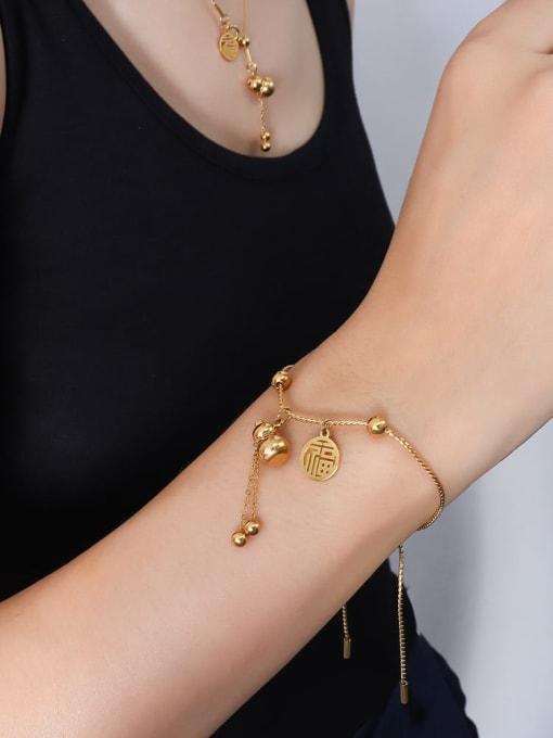 E263 gold  Bracelet 25cm Titanium Steel Hip Hop Round  Bead Braclete and Necklace Set