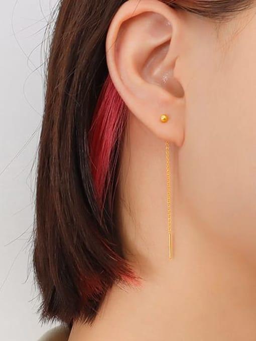 MAKA Titanium Steel Tassel Minimalist Threader Earring 2