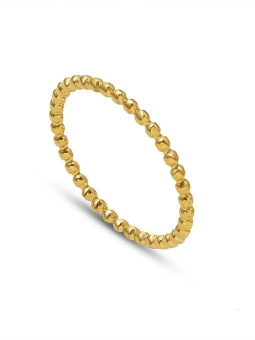 Gold ring Titanium Steel Bead Geometric Minimalist Band Ring