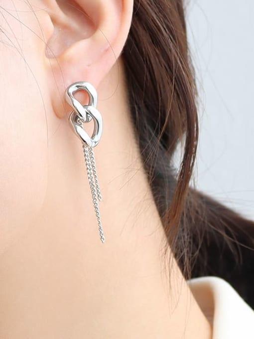 f480 Steel Chain Earrings Titanium Steel Tassel Hip Hop Threader Earring