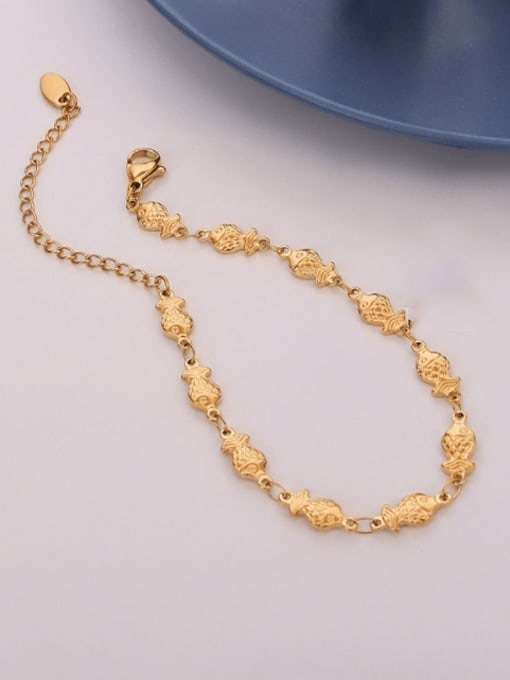 E255 gold bracelet 15 Cm Titanium Steel Fish Hip Hop Bracelet