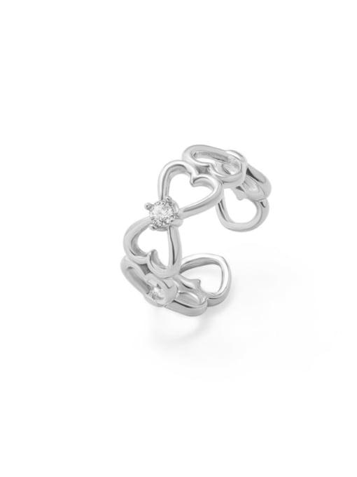 Steel color Titanium Steel Rhinestone Heart Artisan Band Ring