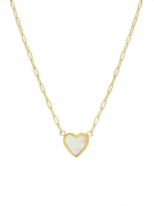 gold Titanium Steel Shell Heart Minimalist Necklace
