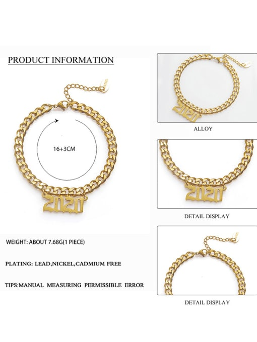 YAYACH Stainless steel Number Trend Link Bracelet 1